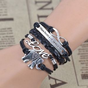 Elephant Infinity Charm Black Leather Bracelet